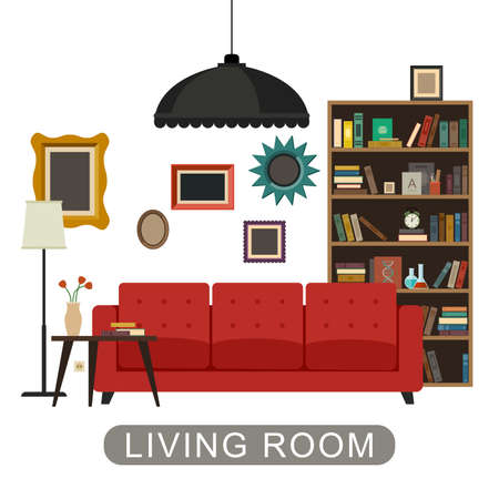 Living room interior with furniture. Vector banner of living room in flat style.