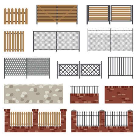 puertas de hierro: Vallas de diferentes estructuras y materiales en estilo plano. Iconos simples del vector.