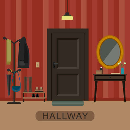hallway: Hallway interior with furniture. Hallway inside the house in flat style.