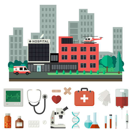 reanimation: Hospital with icons of medical instruments and drugs in flat style. Vector medicine banner.