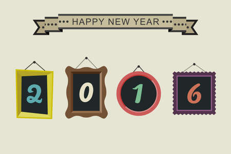winter party: Happy new 2016 year with simple vector photo frames in flat style.