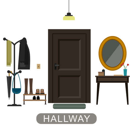 inside house: Hallway interior with furniture. Hallway inside the house in flat style.
