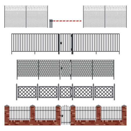 barbed wires: Metal fences and gates in flat style. Simple vector illustration.