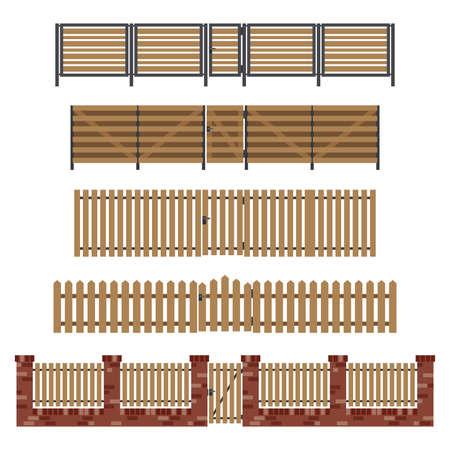 Houten hekken en poorten in vlakke stijl. Eenvoudige vector afbeelding.