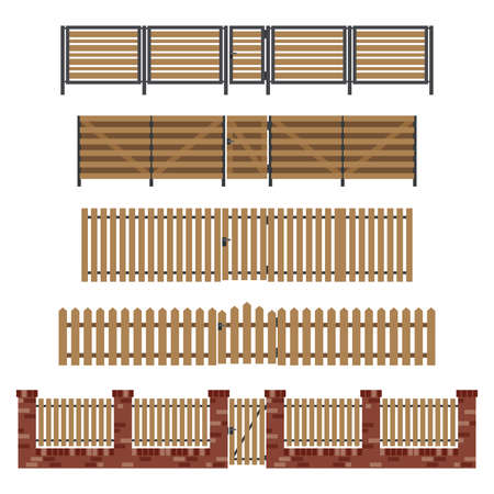 Wooden fences and gates in flat style. Simple vector illustration.