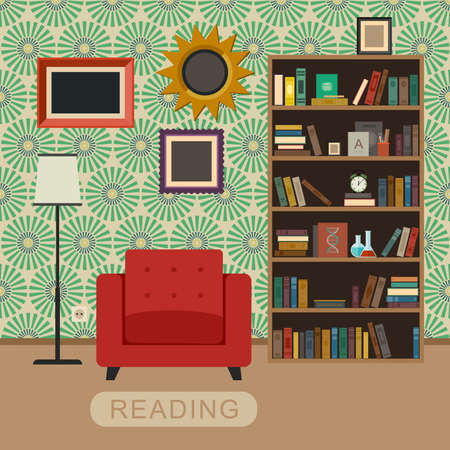 green frame: Interior room with chair and bookshelf. Reading concept.