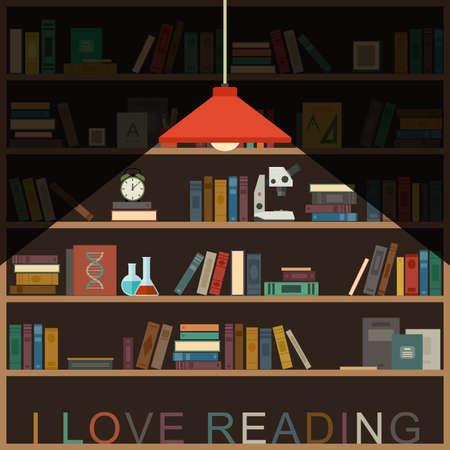 I love reading banner with bookshelf and lighting lamp.