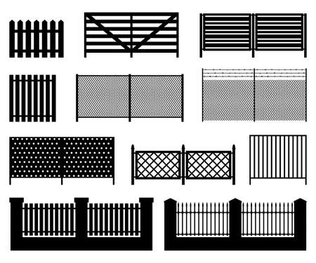 Black color silhouettes of fences. Simple vector icons. 일러스트