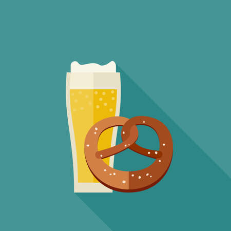 bretzel: Mug of beer and pretzel icons in flat style. Vector illustration. Illustration