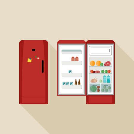 pack ice: Fridge closed and open with food. Vintage red fridge illustration. Illustration