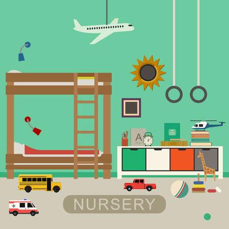 chambre � coucher: inter Nursery avec des meubles et des jouets. Vector banni�re de chambre de b�b� dans le style plat.