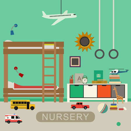 bedroom: Nursery interior with furniture and toys. Vector banner of baby bedroom in flat style.