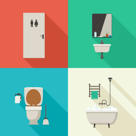 the hygiene: Bathroom illustrations with bath, toilet, sink and hygienic supplies. Vector icons of hygiene in flat style.