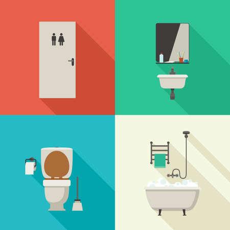 higiene: ilustraciones baño con bañera, inodoro, lavabo y productos higiénicos. Los iconos del vector de higiene en estilo plano.