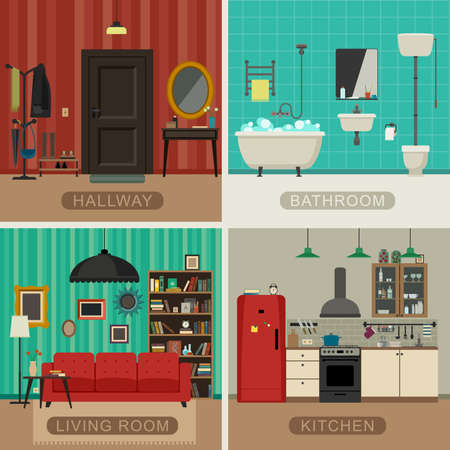 domestic bathroom: Interiors of living room, kitchen, bathroom and hall. Vector flat illustrations. Basic rooms of apartment.