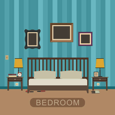 Bedroom interior with furniture. Vector banner of bedroom in flat style.