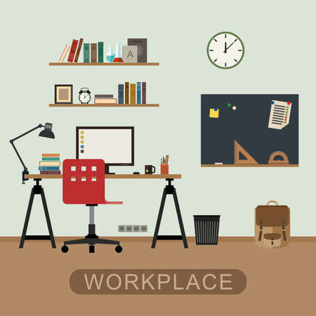 workspace: Workplace in room. Modern vector interior with furniture. Vector banner of workspace in flat style.