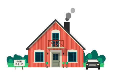 sell car: House for sale or rent. Real Estate vector banner in flat style.