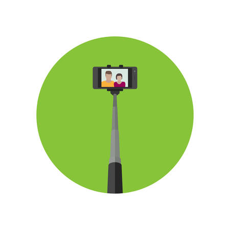 woman on phone: Selfie icon. Simple vector illustration of monopod for selfie