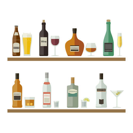 cocktail drinks: Drinks and beverages icons. Bottles of alcoholic beverages with mugs and glasses. Vector flat illustration.