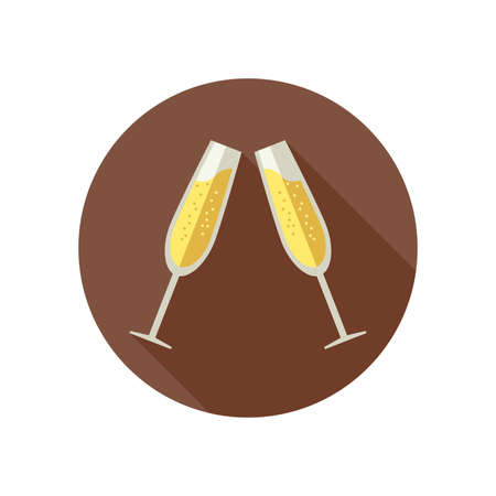 clink: Clink glasses with champagne in flat style. Simple vector icon with glasses of sparkling wine.