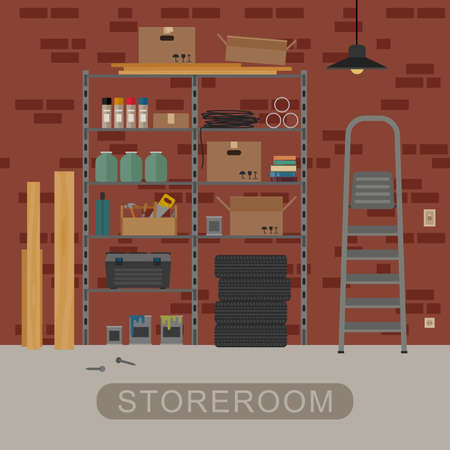 stairs interior: Storeroom interior with metal storage. Vector banner of garage or storeroom in flat style.