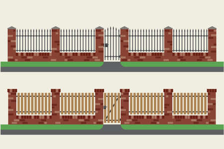 hedges: Brick fences with wooden and metal inserts. Fences and gates in flat style. Simple vector illustration. Illustration