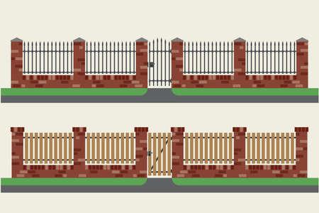 puertas de hierro: cercas de ladrillo con inserciones de madera y metal. Vallas y puertas de estilo plano. ilustración vectorial simple.
