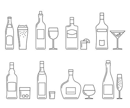 alcoholic: Alcoholic beverages thin line icons on white. Vector line icons of bottles and glasses. Illustration