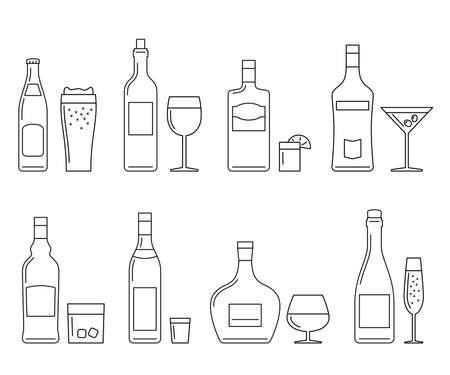 bebidas alcohÓlicas: Las bebidas alcohólicas iconos de líneas finas en blanco. Vector iconos de líneas de botellas y vasos.