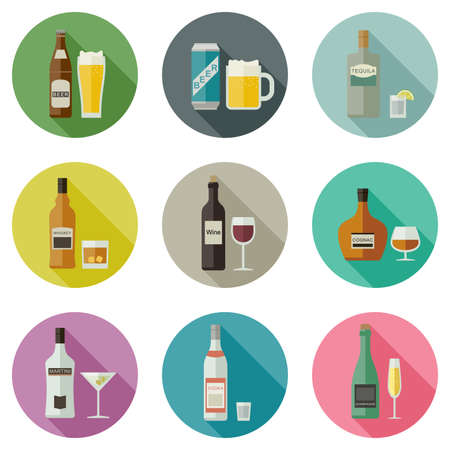 alcohols: Drinks and beverages icons. Bottles of alcoholic beverages with mugs and glasses.