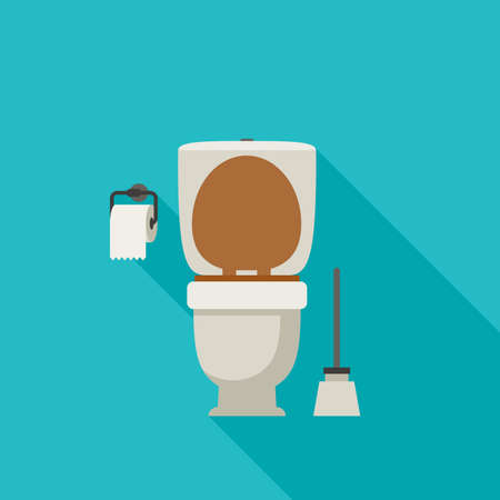 Toilet flat illustration with toilet paper and toilet brush.