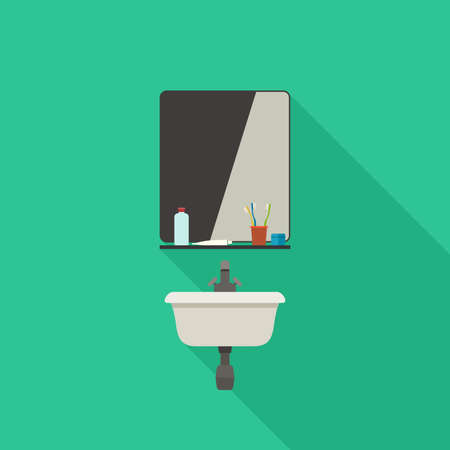 hygienic: Bathroom sink flat illustration with mirror and hygienic supplies.