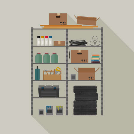 storage: Metal storage vector illustration with tools and boxes.