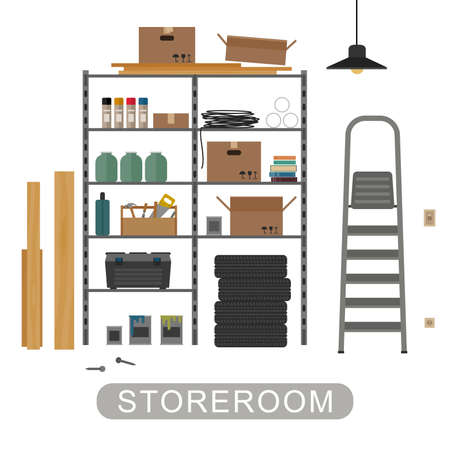 interior: Storeroom with metal storage. Vector banner of garage or storeroom in flat style.