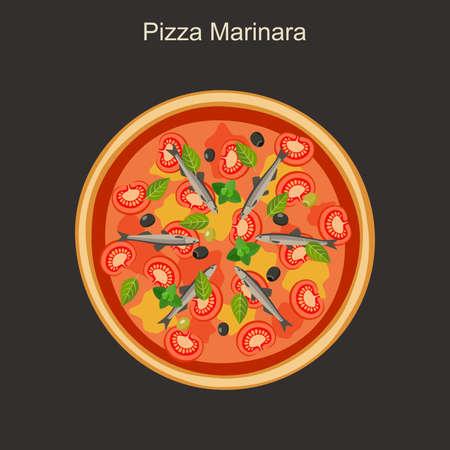 anchovy: Pizza marinara with anchovies. Vector flat pizza.