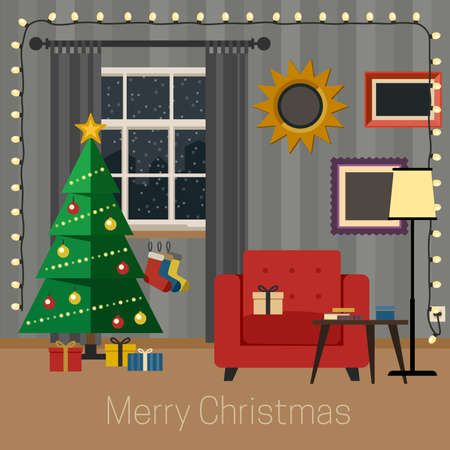 christmas room: Living room with Christmas tree in flat style. Illustration