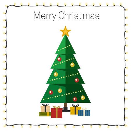 christmas tree presents: Christmas tree with presents. Vector flat illustration.
