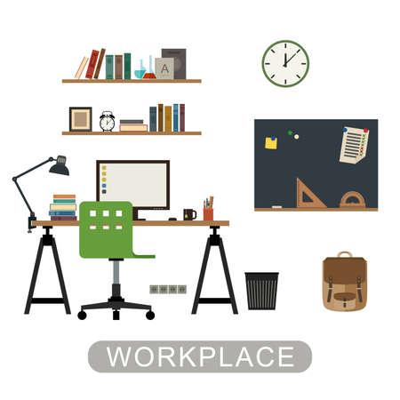 computadora caricatura: Lugar de trabajo en la habitación. Vector del interior moderno con muebles sobre fondo blanco. Bandera del vector de espacio de trabajo en el estilo plano.