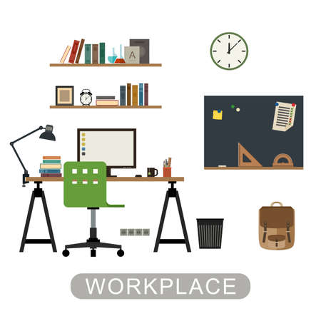 workspace: Workplace in room. Modern vector interior with furniture on white background. Vector banner of workspace in flat style. Illustration