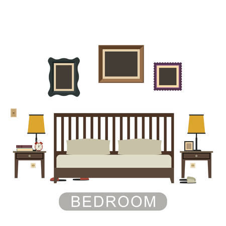 bedroom: Bedroom interior with furniture on white background. Vector banner of bedroom in flat style.