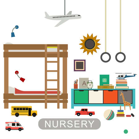 nursery room: Baby playroom interior with furniture and toys. Vector banner of nursery in flat style.