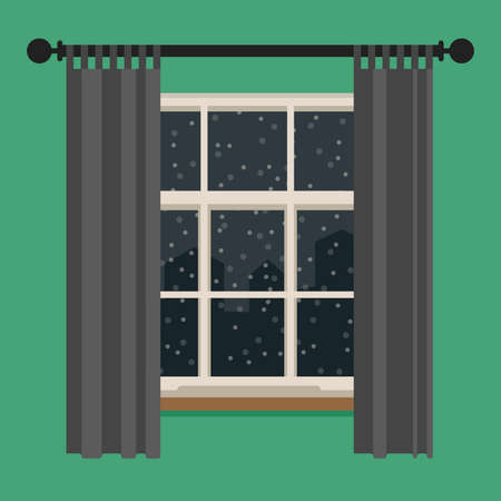 windows home: Window with view of the winter landscape. Vector flat illustration.