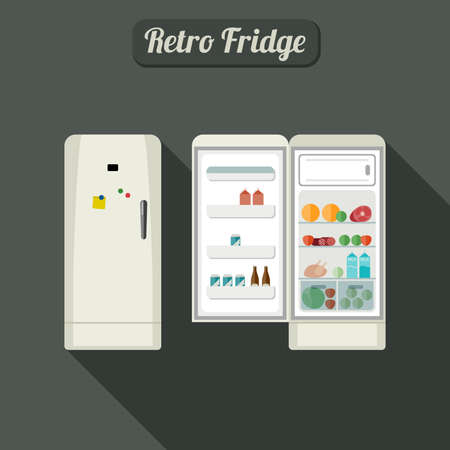 white sausage: Fridge closed and open with food. Vintage white color fridge illustration.