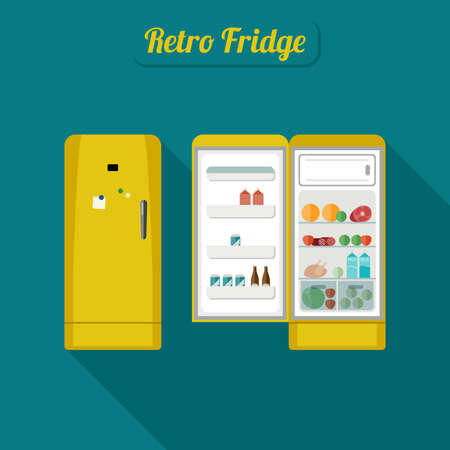 Retro fridge closed and open with food. Vintage yellow fridge illustration.