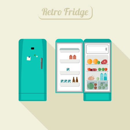 retro color: Retro fridge closed and open with food. Vintage turquoise color fridge illustration.