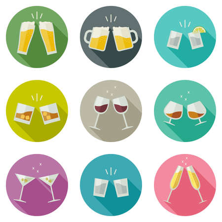 by shot: Clink glasses icons. Glasses with alcoholic beverages in flat style.