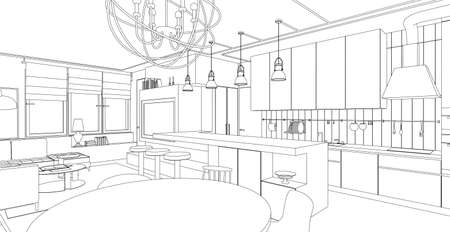 sketch drawing: Interior vector drawing. Architectural design. Living room