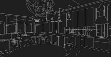 architectural design: Interior vector drawing on black background. Architectural design. Living room