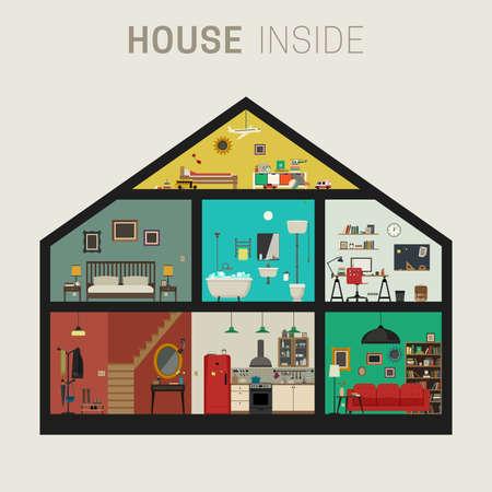 uvnitř: Dům uvnitř inter. Vektor bytový dům se sadou základních pokojů. Dům v řezu s nábytkem.